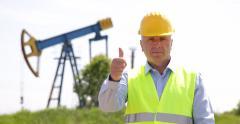 Thumbs Up Satisfied Winner Technician Employee Hand Gesture Oil Pump Platform Stock Footage