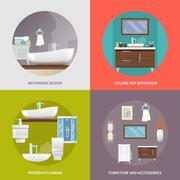 Bathroom Furniture Flat Icons Stock Illustration