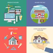 Flat House Set Stock Illustration
