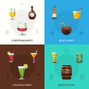 Drinks Polygonal Set Stock Illustration