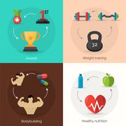 Bodybuilding Flat Set Stock Illustration