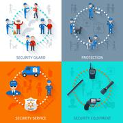 Security guard 4 flat square - stock illustration