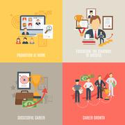Flat Career Set - stock illustration