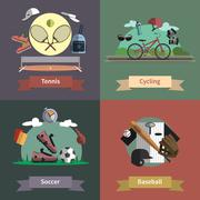 Stock Illustration of Sport 4 flat icons composition banner