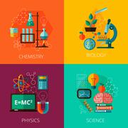 Stock Illustration of Science concept 4 flat icon composition icons
