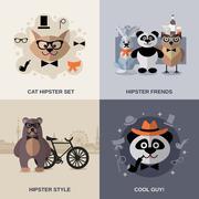 Stock Illustration of Animal Hipster Set