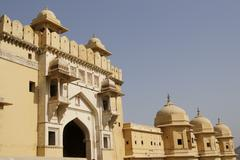 Imposing Entrance To Amber Fort - stock photo
