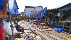 Maeklong Train Market Stock Footage