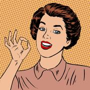 Woman showing okay gesture well the quality is perfectly fine st Stock Illustration