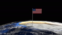 Liberia flag on pole on earth globe animation Stock Footage