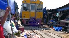 Maeklong Train Market - stock footage
