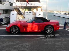 Convertible red color Dodge Viper - stock photo