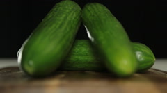 Stock Video Footage of Cucumbers on Cutting Board