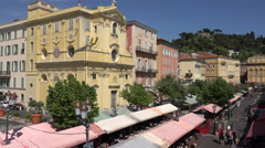 Historic buildings of Cours Salaya and flower market, old town, Nice, France Stock Footage