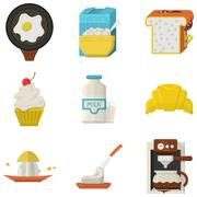 Flat icons for morning menu Stock Illustration