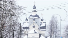 Orthodox Church During Snowfall, Kondopoga, Karelia, Russia Stock Footage