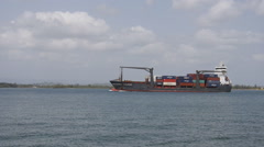 Small cargo ship vessel arrives to harbor Arkistovideo