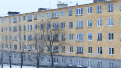 City Block of Flats Houses in Russia During Heavy Snowfall Stock Footage