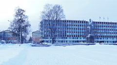 Onega lake quay with City Hall Building, Petrozavodsk, panoramic view Stock Footage