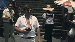 Rio de Janeiro 1977: people visiting Christ the Redeemer Stock Footage