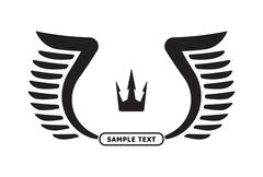 Stock Illustration of Pair of black vector wings with crown and copyspace for text.