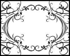 Vintage vector background - black frame for your design. - stock illustration