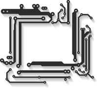 Abstract vector frame with shadow in PCB-layout style. Stock Illustration
