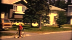 1974 bicycle and dog Stock Footage