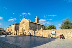 Tourists visit main square in Monteriggioni, Tuscany Stock Photos