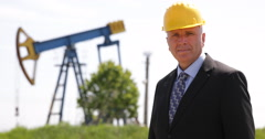 Oil Extracting Industry Handsome Manager Camera Looking Satisfied Presentation Stock Footage