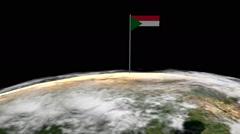 Sudan flag on pole on earth globe animation - stock footage