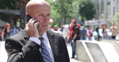 Crowded City Street Salesman Phone Talk Anger Disappointed Discouraged Attitude Stock Footage
