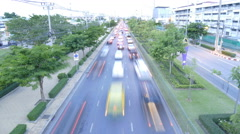 Cars fast accelerated along the night road city Stock Footage