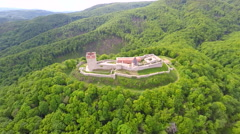 Aerial view of fort Medvedgrad with mount Medvednica forest around it. Stock Footage