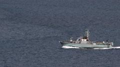 Israeli Navy boat patrolling in the Gulf of Eilat, Israel Stock Footage