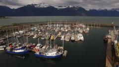 Harbor Reveal Haines AK Evening Light Aerial Pullback HD Stock Footage