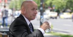 Thirsted Businessman Torrid Day Sweating Sidewalk Bench Drink Water Urban Scene Stock Footage
