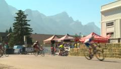 Cycle racing accident, Canmore, Alberta Stock Footage