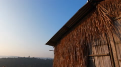 Vintage bamboo hut with blue sky Stock Footage