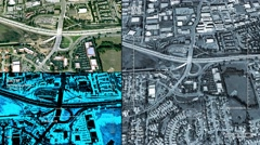Aerial surveillance drone/UAV flyover of freeway interchange Stock Footage