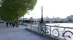 Southbank and Golden Jubilee Bridge London Stock Footage