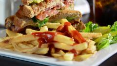 BLT, fries and catsup Stock Footage