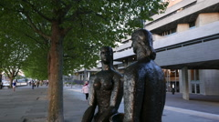 Statues in front of National Theatre London Stock Footage
