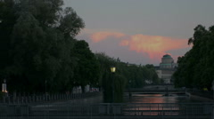 Tranquil evening on Isar river Munich Stock Footage
