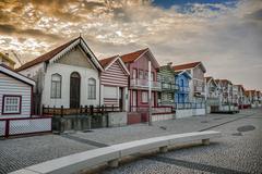 Costa Nova do Prado ( Portugal) famous home Palheiros - stock photo