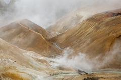 Steam arising from geothermal mountains, Kerlingarfjoll, Iceland - stock photo