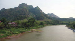 Nong Khiaw in north Laos Stock Footage