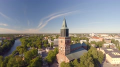 Turku Cathedral, aerial view 4K, Skandinavia Turun Tuomiokirkko Stock Footage
