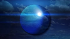 ambient sphere with clouds and light - stock footage