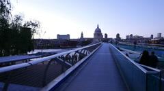 Millennium Bridge London - moving camera shot - stock footage